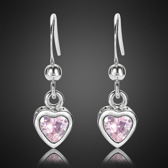 Xmas Jewelry Lady Heart Pink Sapphire White Gold Plated ...