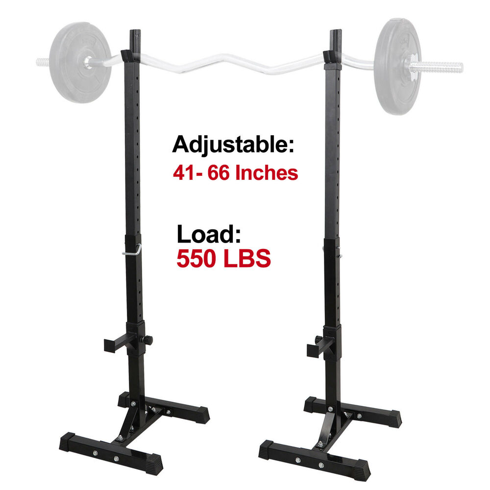 Pair Of Adjustable Rack Sturdy Steel Squat Barbell Free Bench Press Stands Gym Ebay