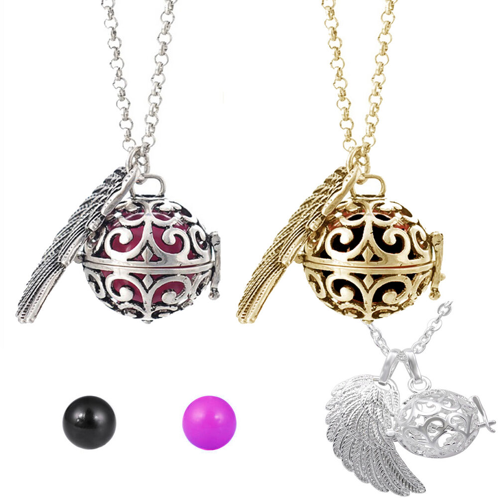 angel wing harmony ball chime bola pendant chain necklace. Black Bedroom Furniture Sets. Home Design Ideas