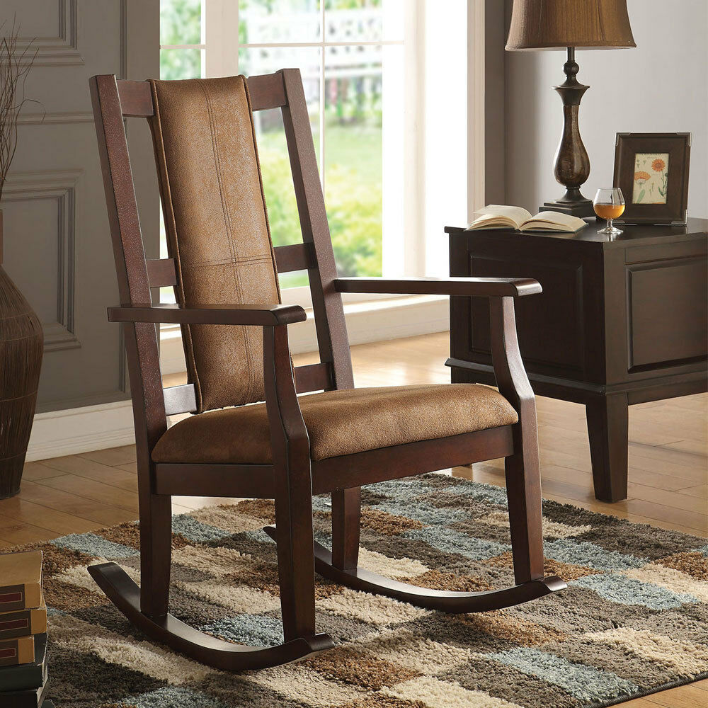 Butsea Living Room Accent Rocking Chair W Padded Seat Amp Back Espresso