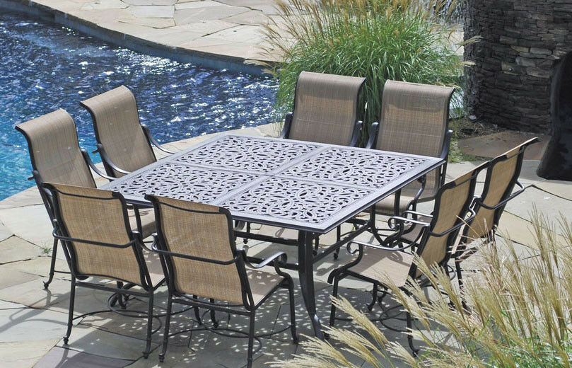 patio furniture outdoor dining set sling trinity 9 pc cast aluminum