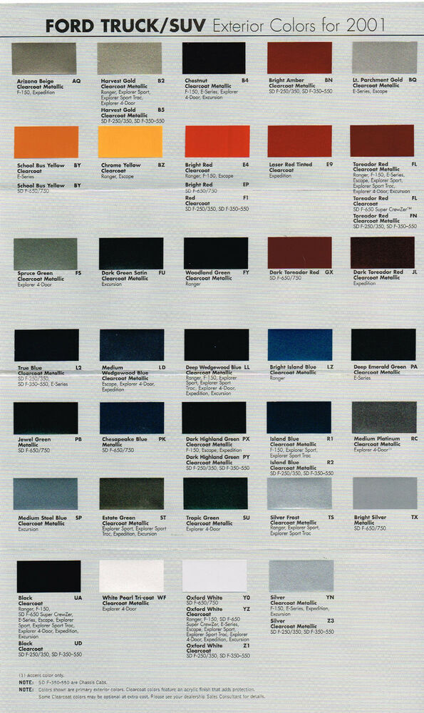 2001 ford truck color chart chip paint sample brochure pickup explorer ranger ebay. Black Bedroom Furniture Sets. Home Design Ideas