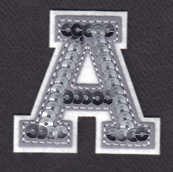 letter appliques iron on letters silver sequin 2 quot letter quot a quot iron on 8205