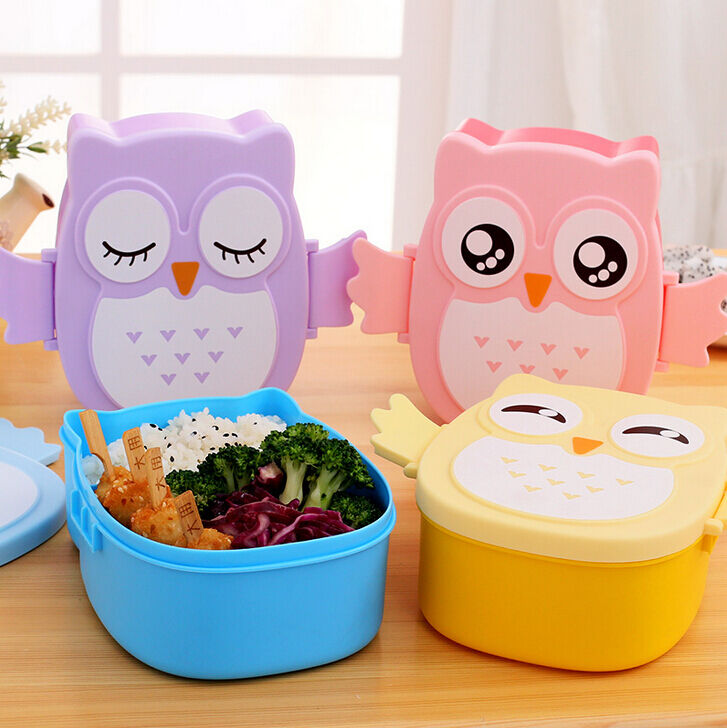 Cute Cartoon Owl Lunch Box Food Container Storage Portable Bento