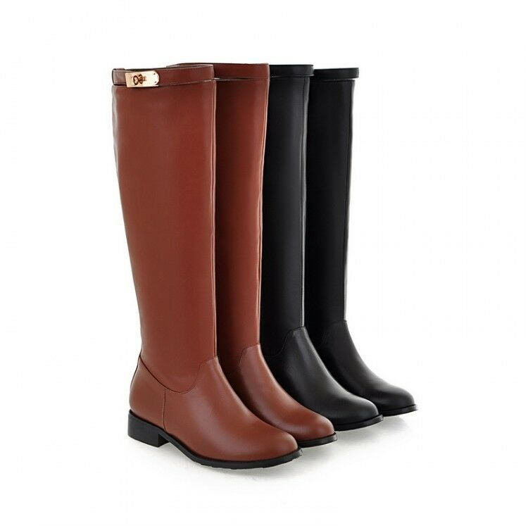 knee high boots womens leather flat heel side