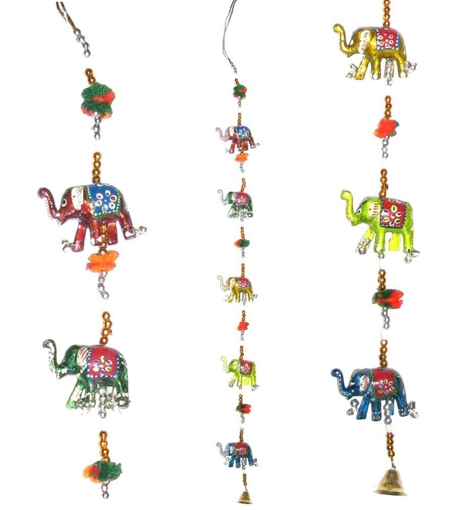 Indian Elephant Hanging Mobile Lucky Elephants Wallhanging