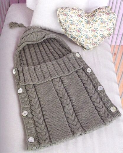 Aran Baby Sleeping Bag Tassel Hood - Button Sides 0 - 3 Months Knitting Patte...