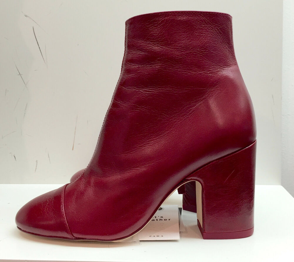 zara high heel leather ankle boots with toe cap 35 41 ref