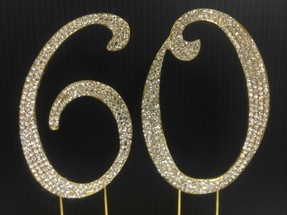 60th wedding anniversary cake topper gold rhinestone number 60 cake topper 60th birthday 1171