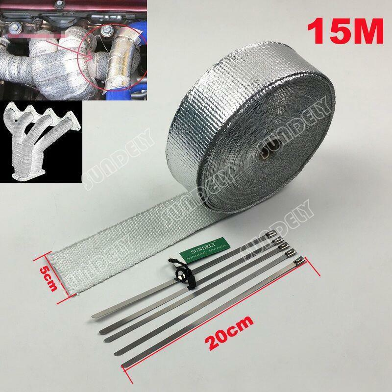 Exhaust Heat Wrap >> New 15m Silver Lava Exhaust/Header Pipe HeatShield Wrap Car/Motorcycle & 5 Ties | eBay