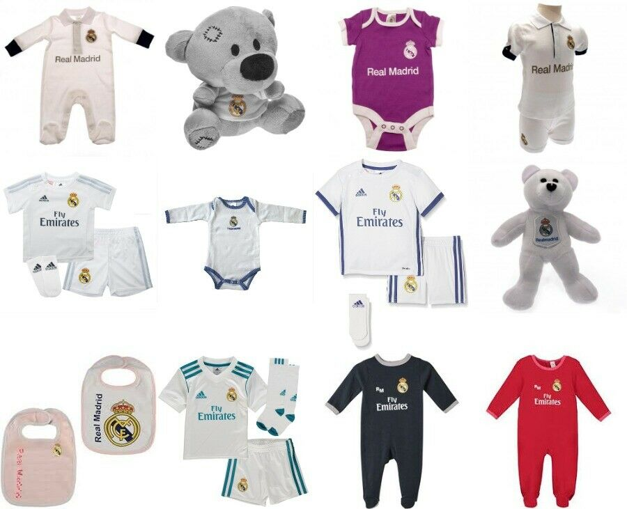 6012ce1ba Real Madrid Baby Kit Baby Grow Sleep Suit Body Suit Booties Hat Teddy Bear  Gift