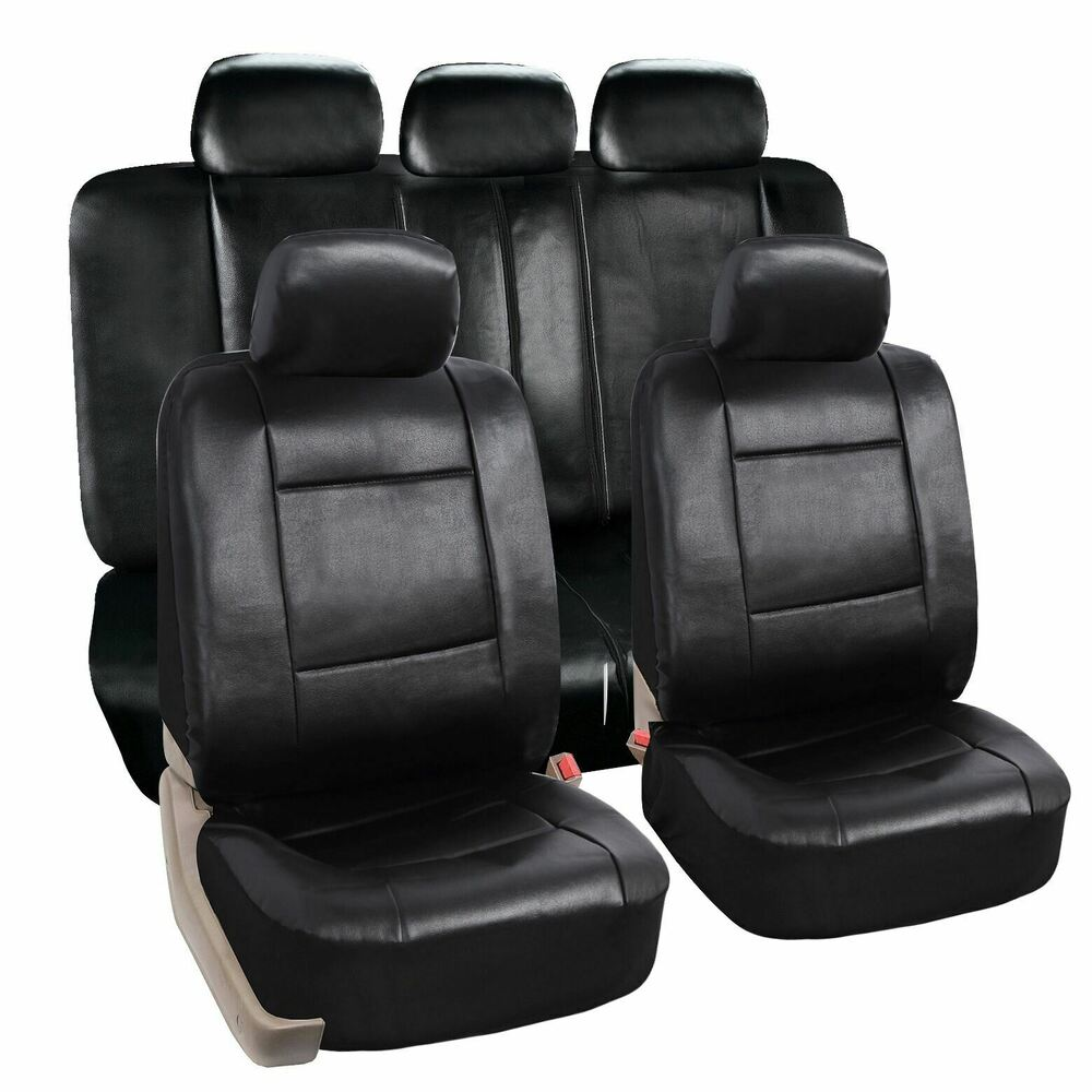 zone tech luxury universal fit interior decor pu leather car seat covers black ebay. Black Bedroom Furniture Sets. Home Design Ideas
