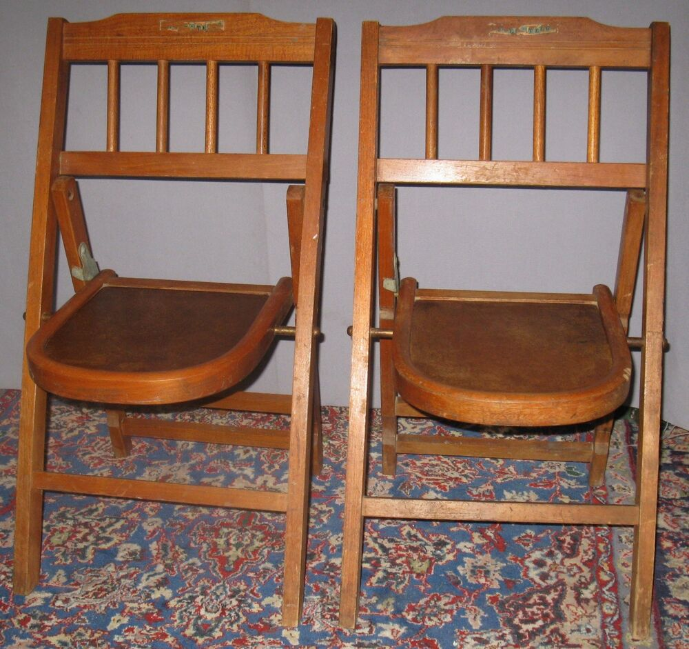 Vintage Pair Of Childrens Folding Bentwood Style Chairs