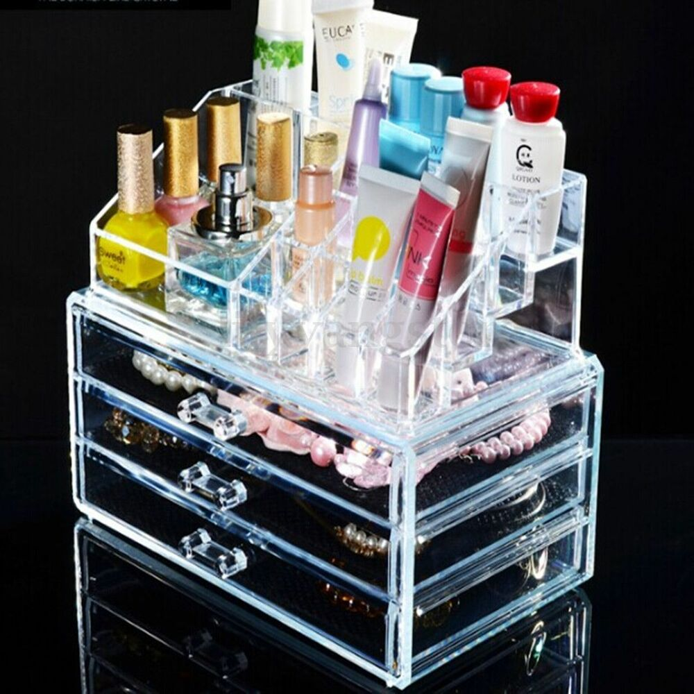 Clear Acrylic Makeup Case Cosmetic Organizer Holder Drawers Jewelry Storage Box | eBay