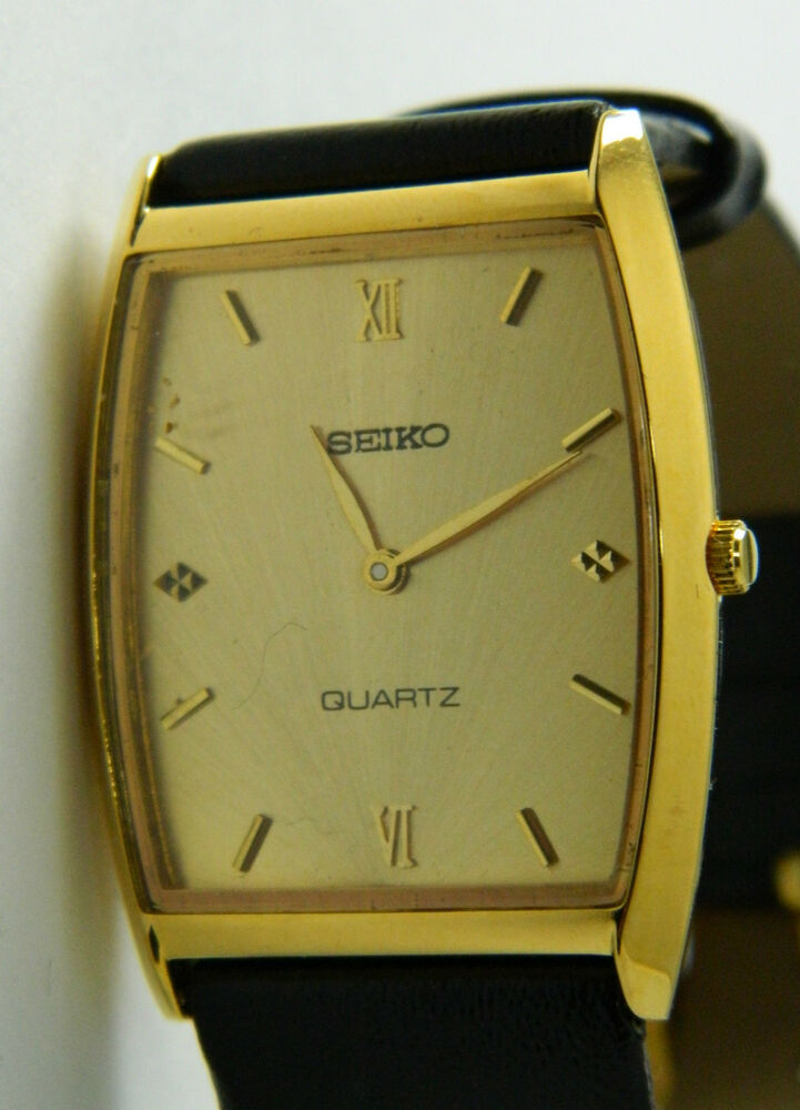 Seiko Gold Tone Case New Leather Band Men S Watch Sq