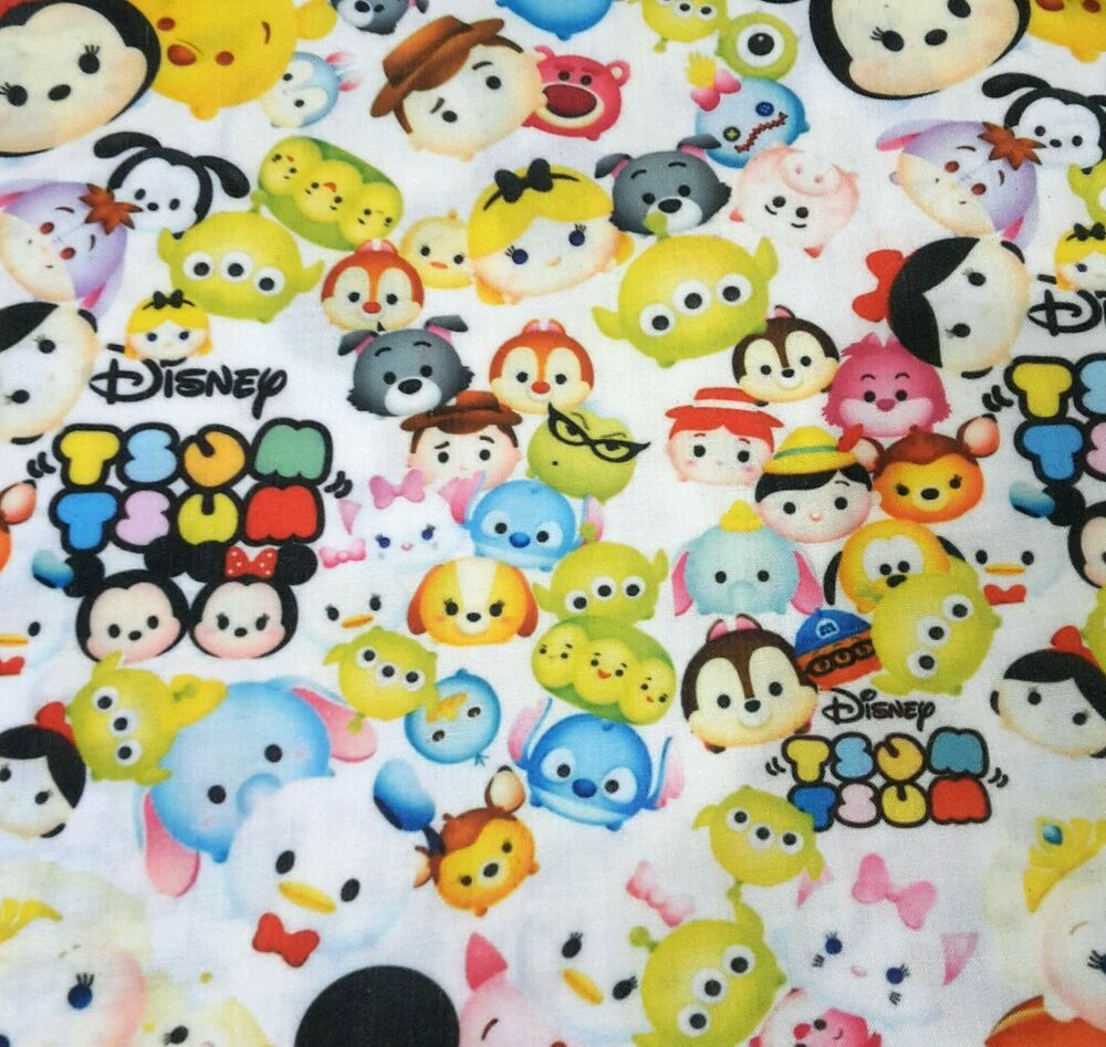 Tsum tsum print polycotton fabric pooh stitch dumbo toy for Alien print fabric