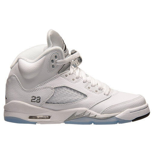 buy online 2d200 a2d9c Details about Nike Air Jordan 5 V Retro GS White Metallic Silver Basketball  Shoes 440888-130
