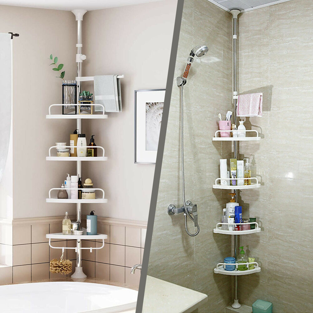 Bathroom Shower Corner Shelves: 4TIER BATHROOM SHOWER KITCHEN HANGING CORNER SHELF CADDY
