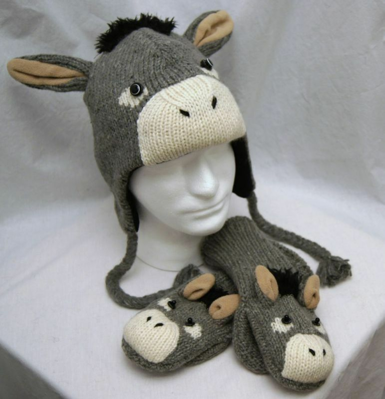 Knitting Pattern For Donkey Hat : DONKEY HAT & MITTENS SET knit ADULT costume LINED mule ...