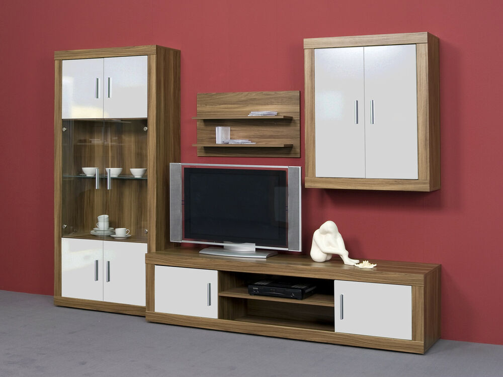 wohnwand schrankwand anbauwand nussbaum wei gl nzend ebay. Black Bedroom Furniture Sets. Home Design Ideas