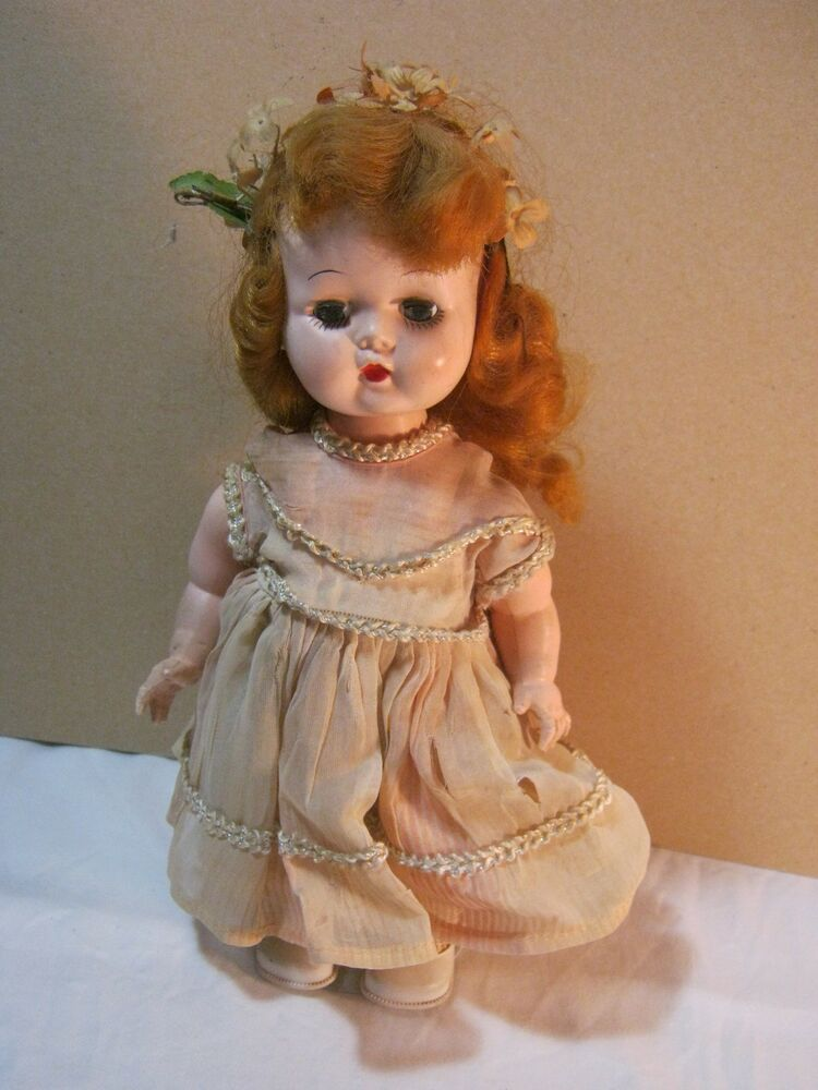 Vintage Hard Plastic Doll Toy W Dress As Is Parts Ebay