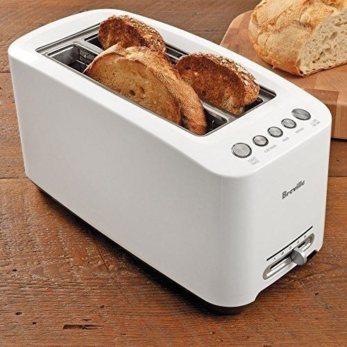 wide one touch toaster white 4 slice long slot kitchen. Black Bedroom Furniture Sets. Home Design Ideas