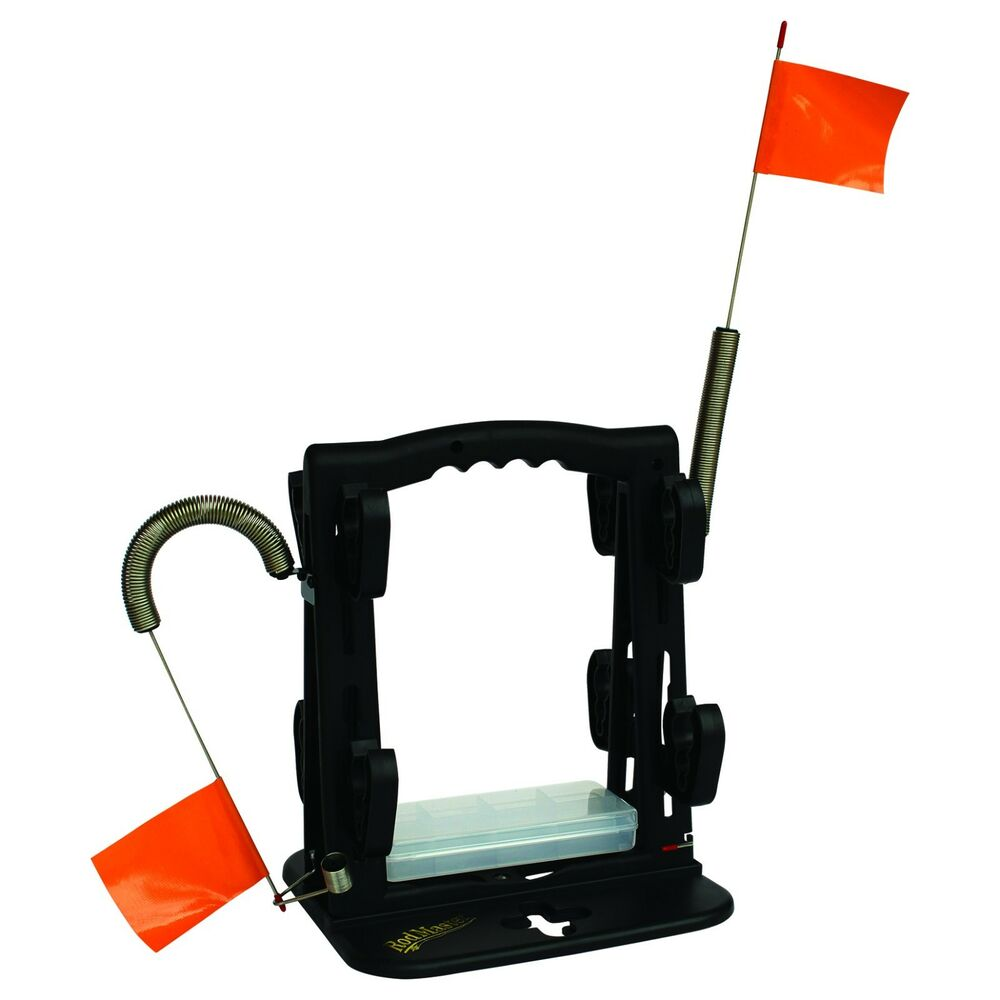 Ice fishing tip up fishing rod caddy fishing rod rack by for Ice fishing rod holder