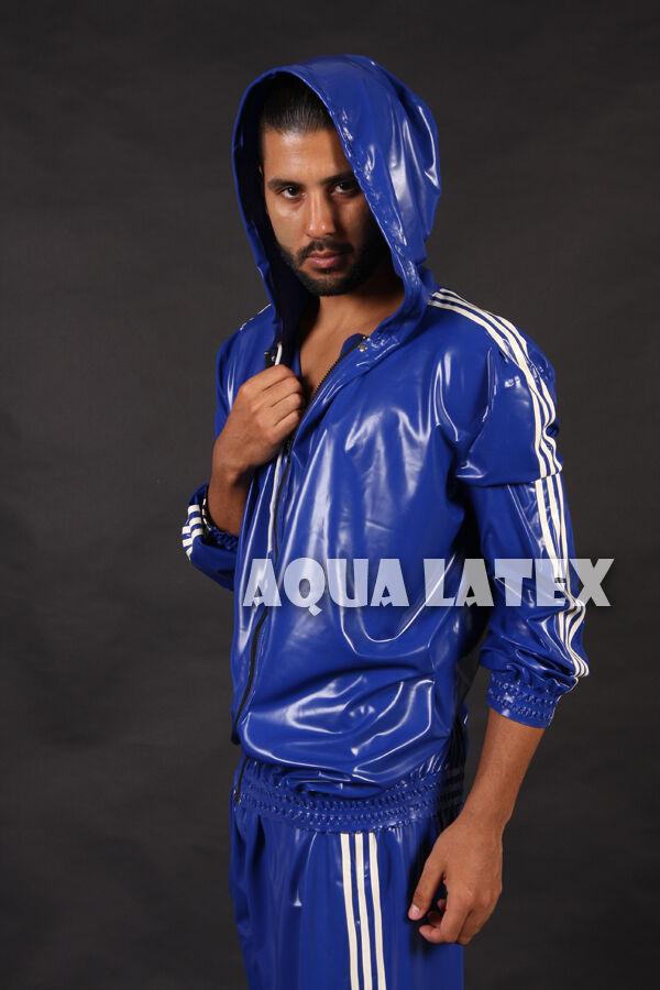 3 Stripe Rubber Latex Hoodie And Track Pants Loose Fit