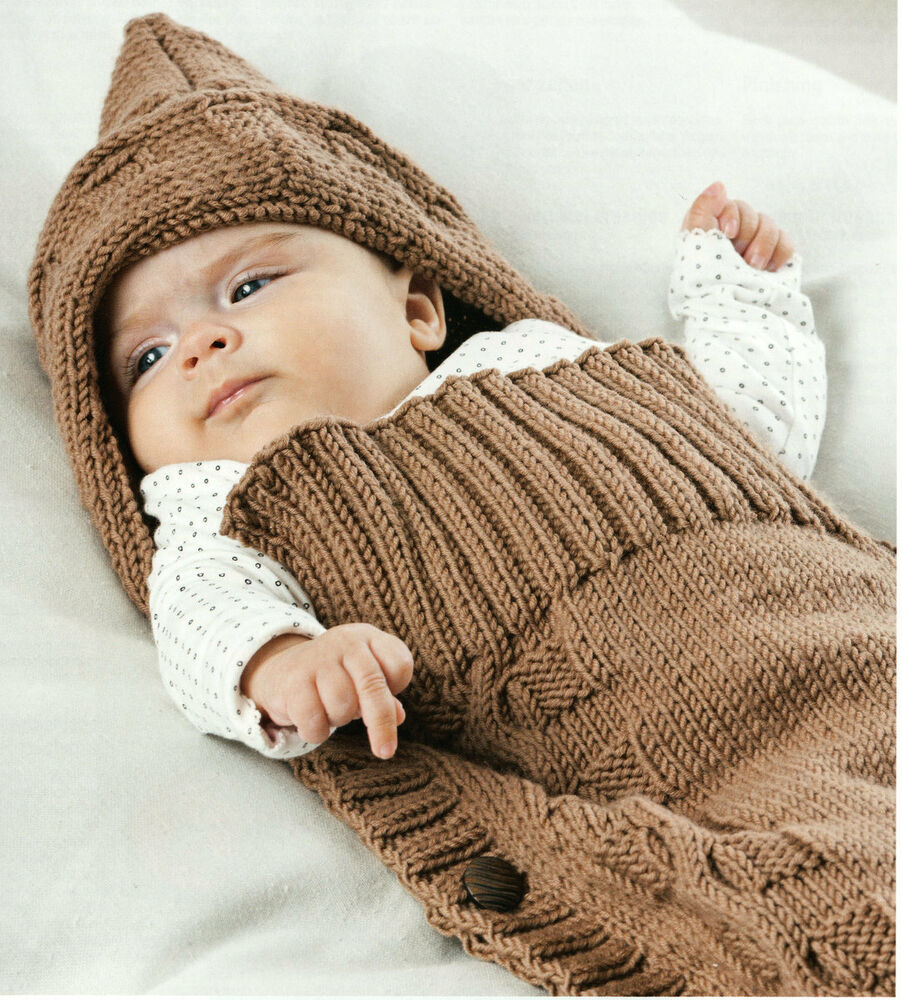 Knitting Pattern Sleeping Bag Baby : Aran Baby Sleeping Bag & Hood - Button Sides 22