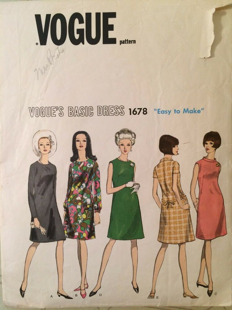 Vintage vogue basic design sewing pattern sz bust