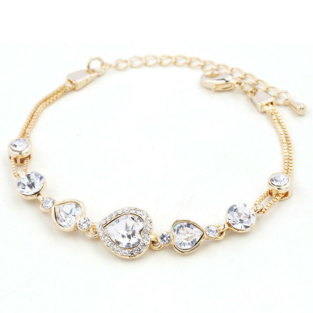 Gold Jewelry Bracelets: Sarotta Jewelry Gift White Topaz 18K Yellow Gold Plated