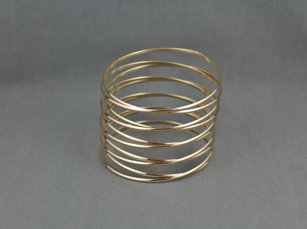 Gold Spiral Bracelet Coil Spring Stacked Style Metal Bangle Cuff Wide Ebay