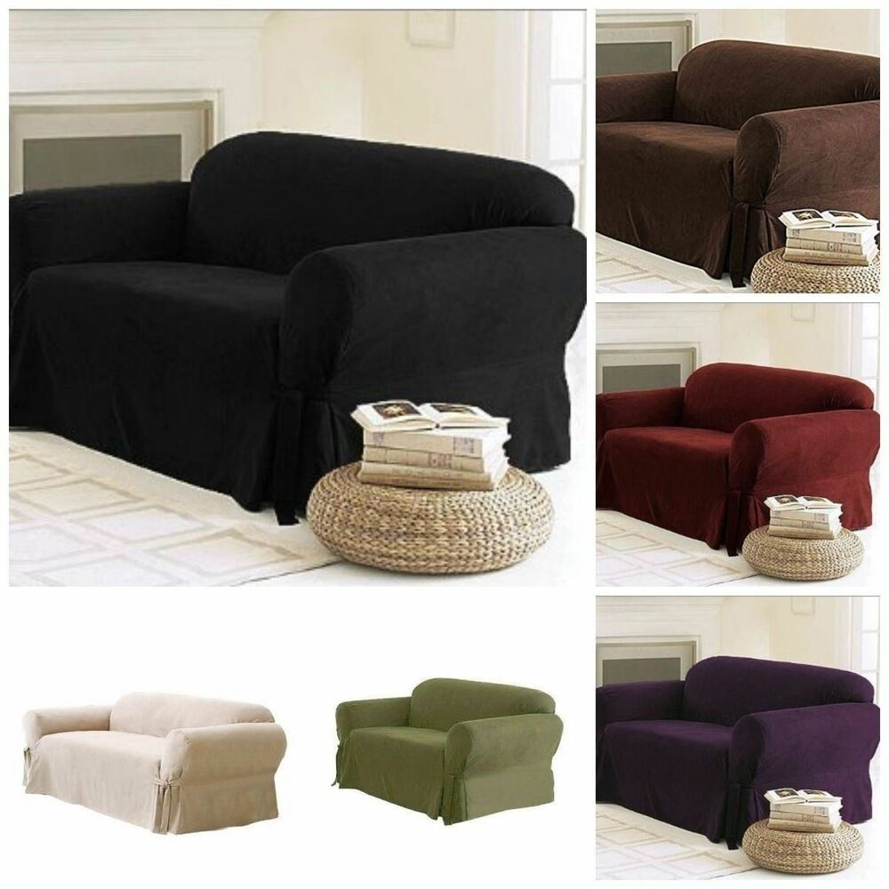 Soft solid micro suede sofa loveseat armchair cover slipcover 9 colors ebay Couch and loveseat covers