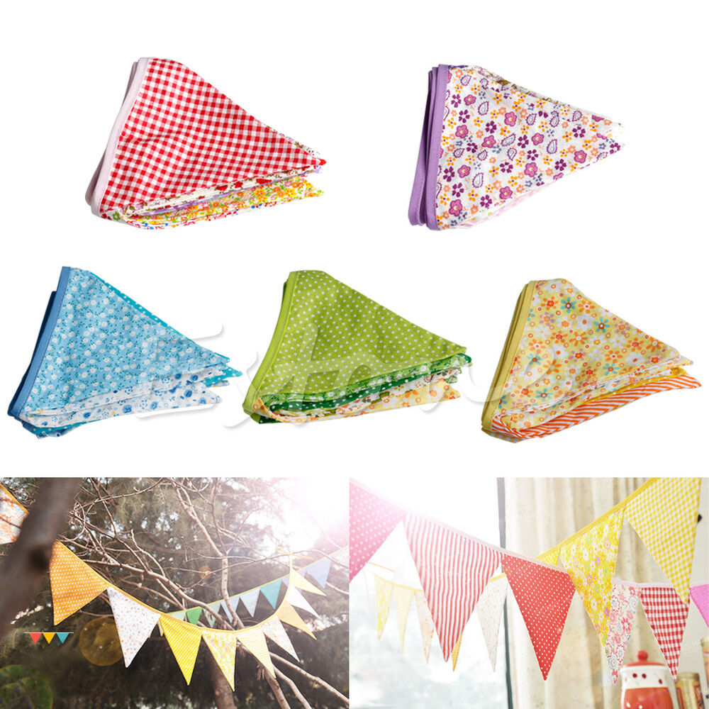 Vintage Colorful Fabric Flags Bunting Pennant Wedding Party Show Home Decoration Ebay