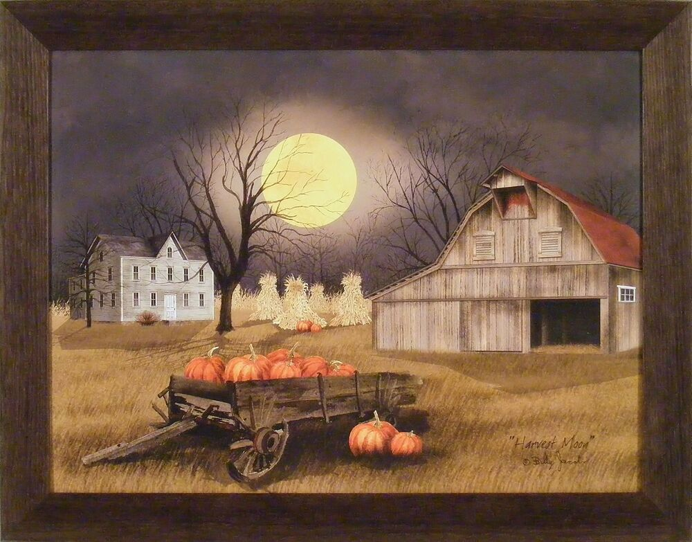 Harvest Moon By Billy Jacobs 22x28 Framed Picture Pumpkins