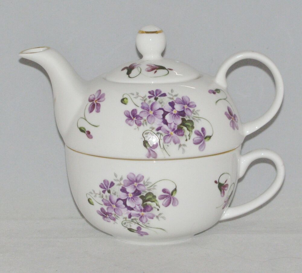 royal victorian bone china tea for one set stacked teapot cup wild violet ebay. Black Bedroom Furniture Sets. Home Design Ideas