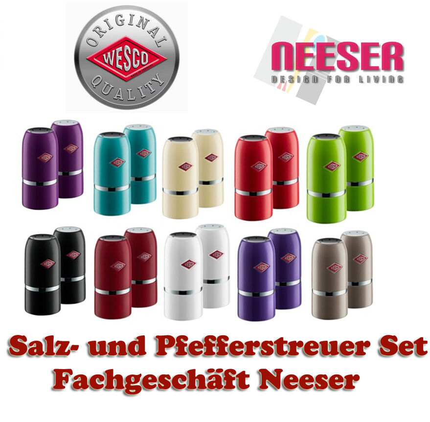 wesco design salz und pfeffer streuer 2er set pfefferstreuer salzstreuer 322854 ebay. Black Bedroom Furniture Sets. Home Design Ideas