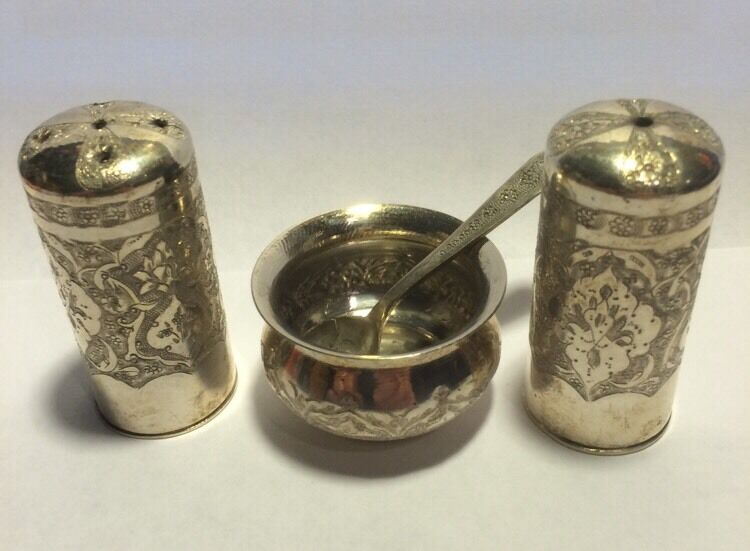 Authentic Set Of Russian Persian Silver 84 Pepper Salt