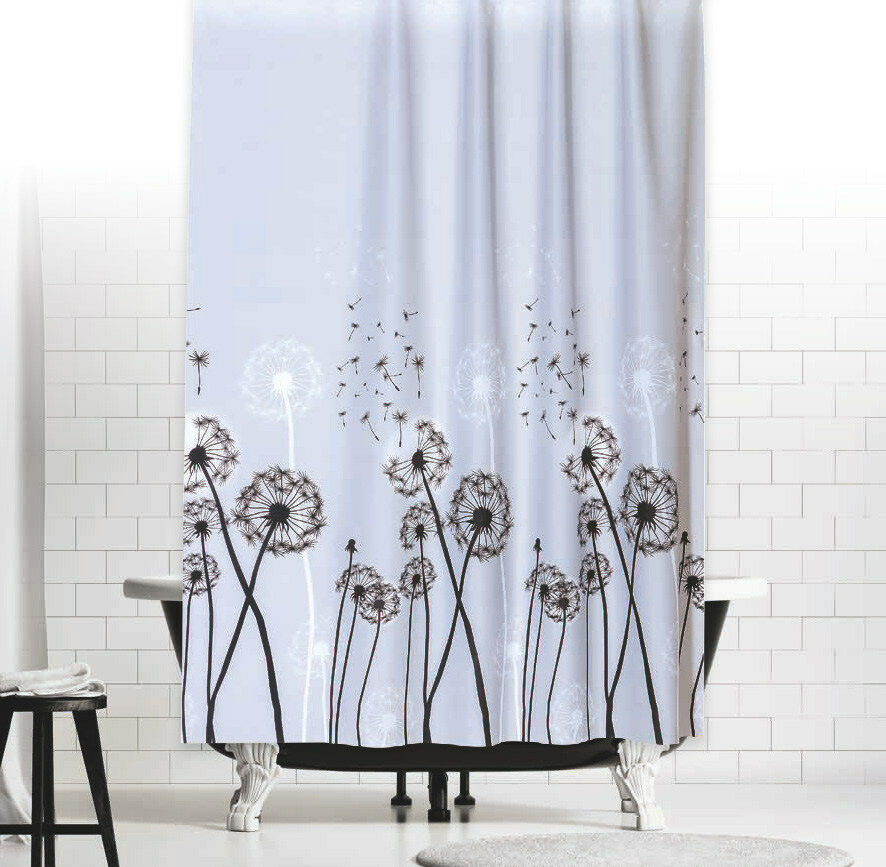 textil duschvorhang pusteblume 180x180 cm grau schwarz weiss gardine kurz 180 ebay. Black Bedroom Furniture Sets. Home Design Ideas