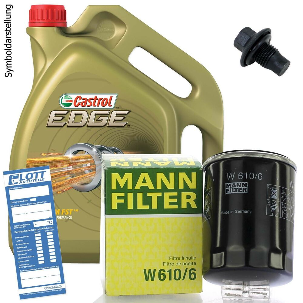 lwechsel set 5l 5w 30 l motor l castrol mann lfilter ablassschraube ebay. Black Bedroom Furniture Sets. Home Design Ideas