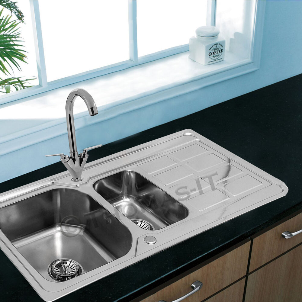 bowl stainless steel kitchen sink with plumbing waste kit ebay