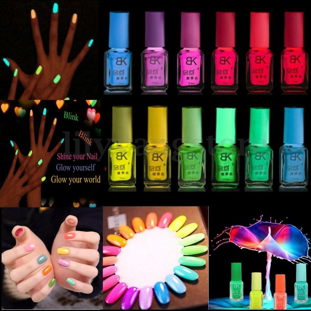 Fluorescent Neon Pink Nail Polish: 7ML Candy Colors Fluorescent Neon Luminous Nail Art Polish