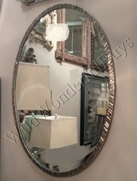 silver oval mirrors bathroom minimalist oval wall mirror polished nickel 28 quot metal 20364