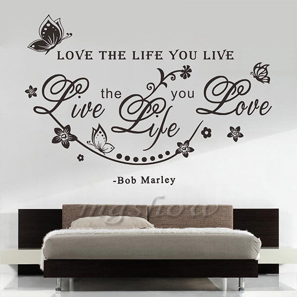 Http Www Ebay Com Itm Bob Marley Quote Love The Life You Live Art Butterfly Home Decor Wall Sticker 201488347422