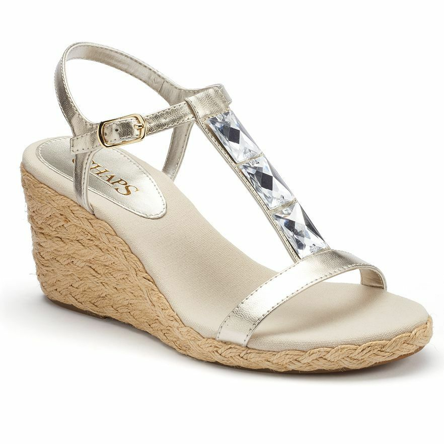 CHAPS Dela Womens Shoes Heels Silver Wedge Sandals Woven ...