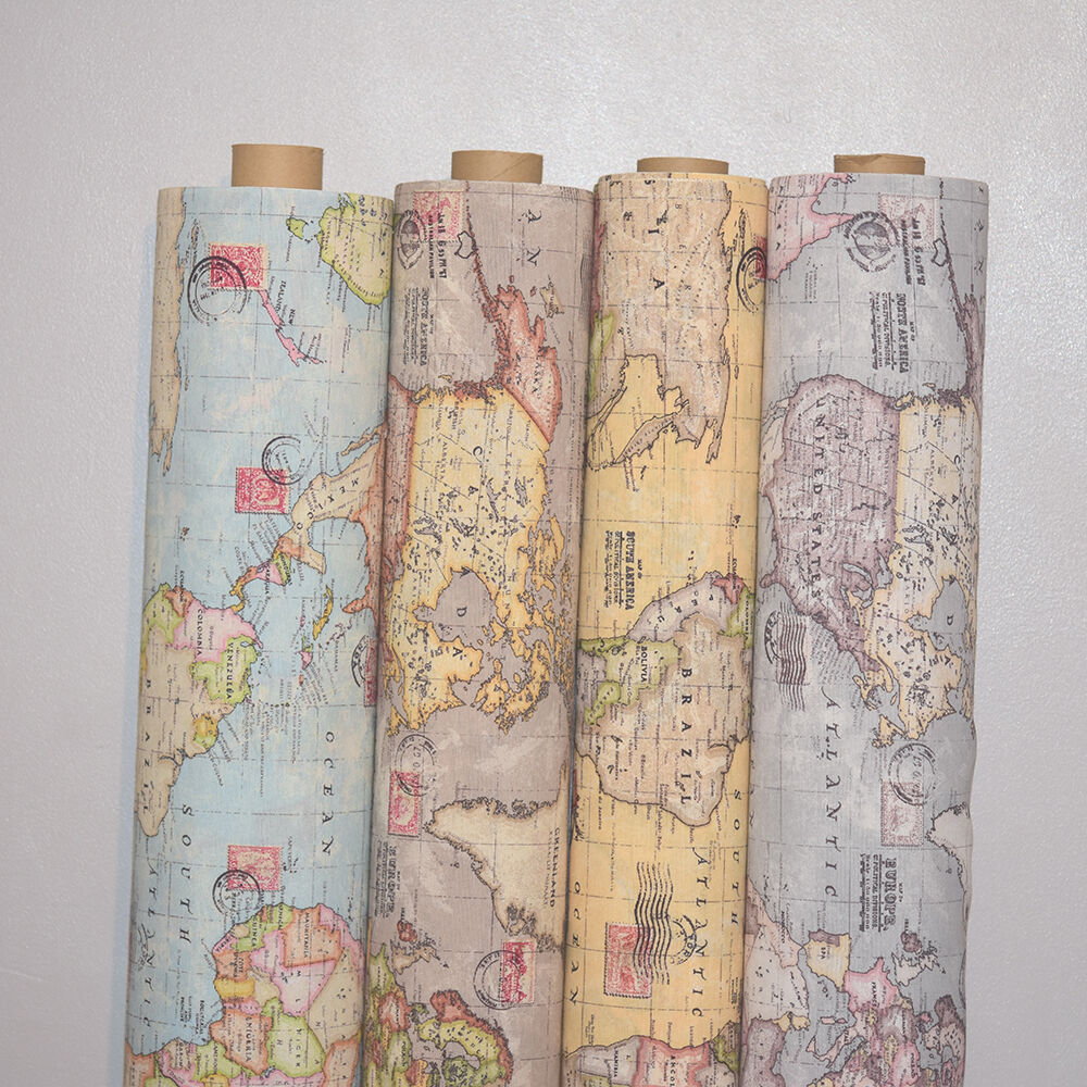 Vintage World Map Cotton Linen Fabric Curtain & Upholstery ...