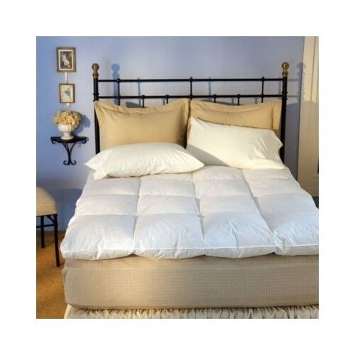 feather mattress topper bed baffle box full size down featherbed pad sleep boxed ebay. Black Bedroom Furniture Sets. Home Design Ideas