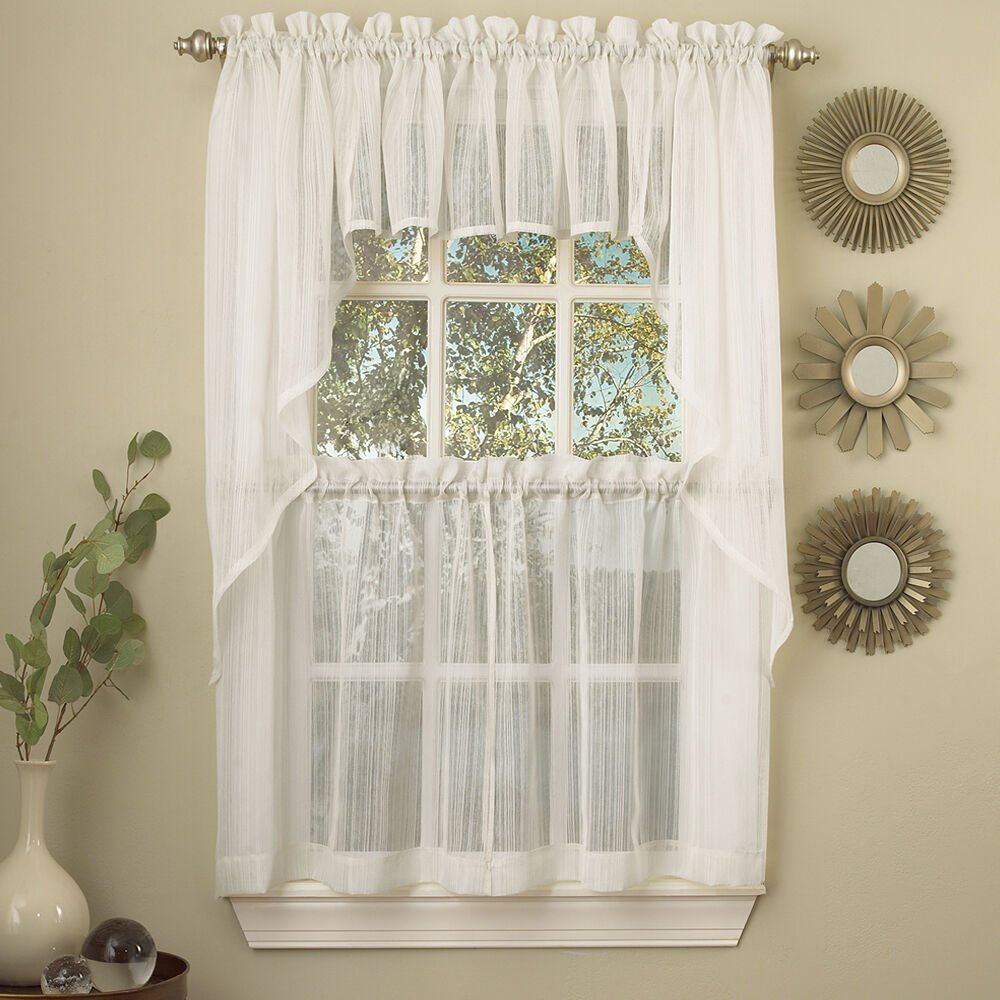 Kitchen Curtains And Valances: Harmony White Micro Stripe Semi Sheer Kitchen Curtains