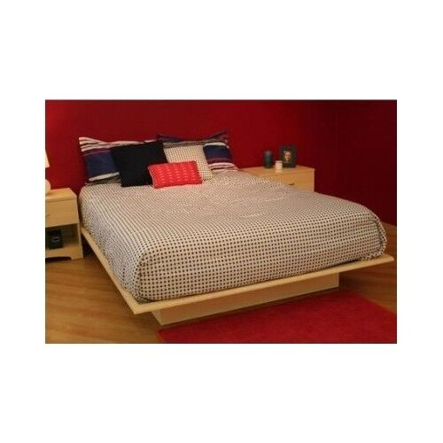 Maple platform bed full size frame no box spring needed - Contemporary maple bedroom furniture ...