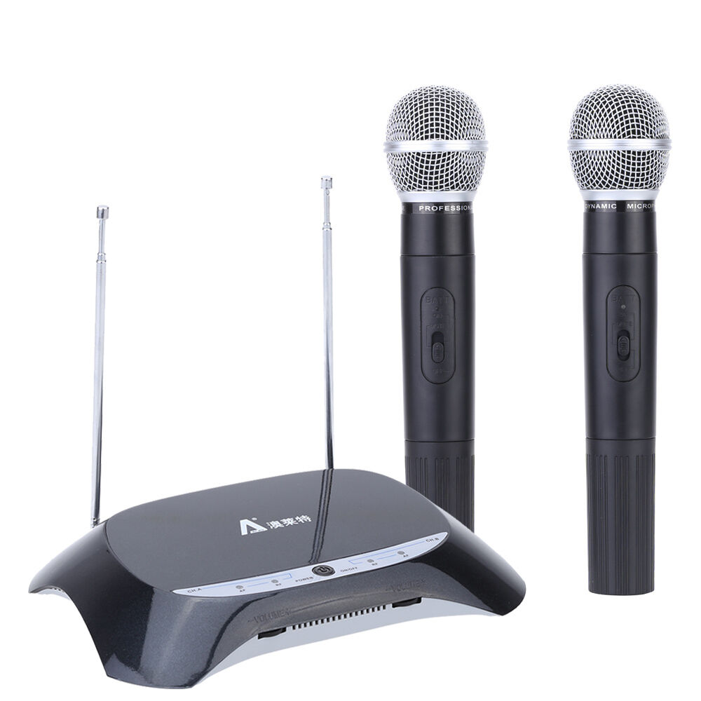 dual 2 channel vhf emitter receiver wireless microphone system w 2 handheld mic ebay. Black Bedroom Furniture Sets. Home Design Ideas